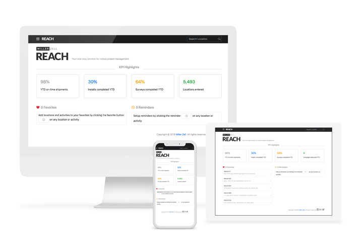 REACH dashboard - imac and iphone mockup